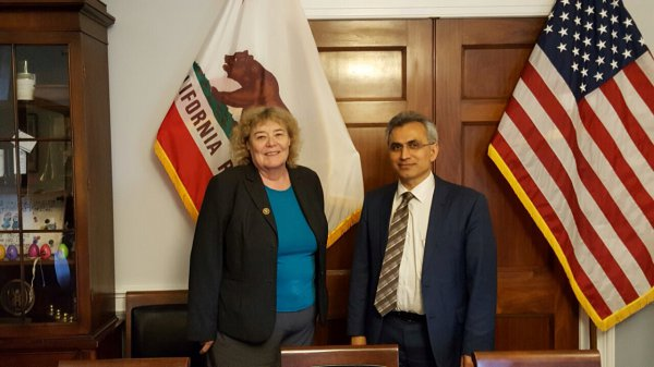 Mr Boladai with Congresswoman Zoe Lofgren