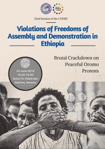 Joint HRLHA-UNPO Side-Event to the UN Human Rights Council to Assess Freedom of Assembly and Demonstration in Ethiopia